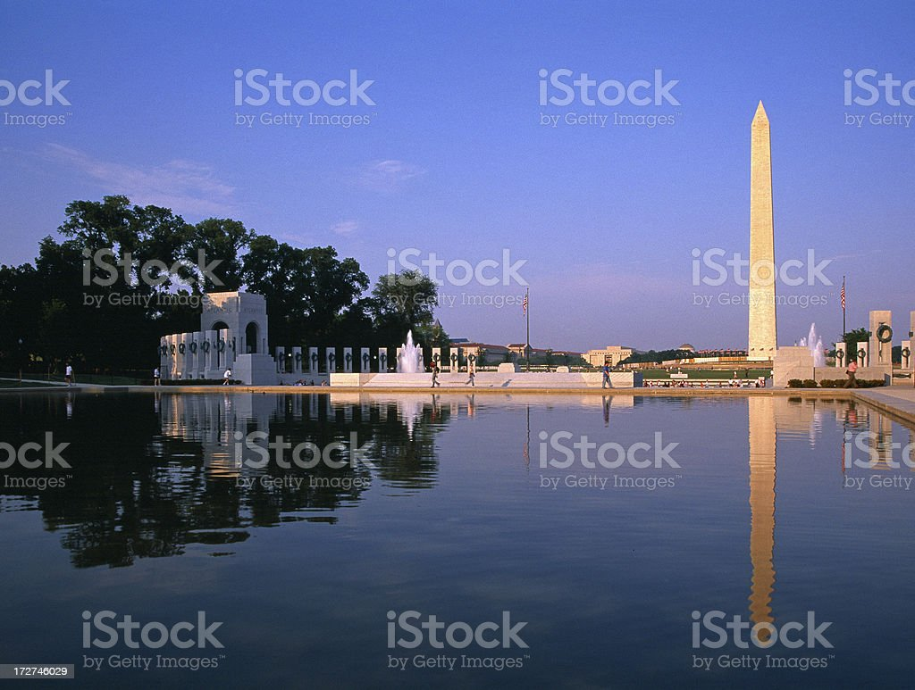 Washington Monument and World War II Memorial at sunset stock photo
