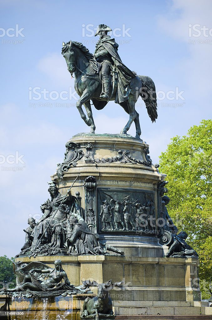 Washington Monument at Eakins Oval in Philadelphia, PA royalty-free stock photo