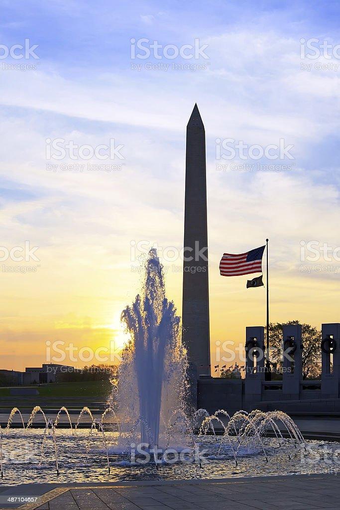 Washington Monument at Sunrise stock photo