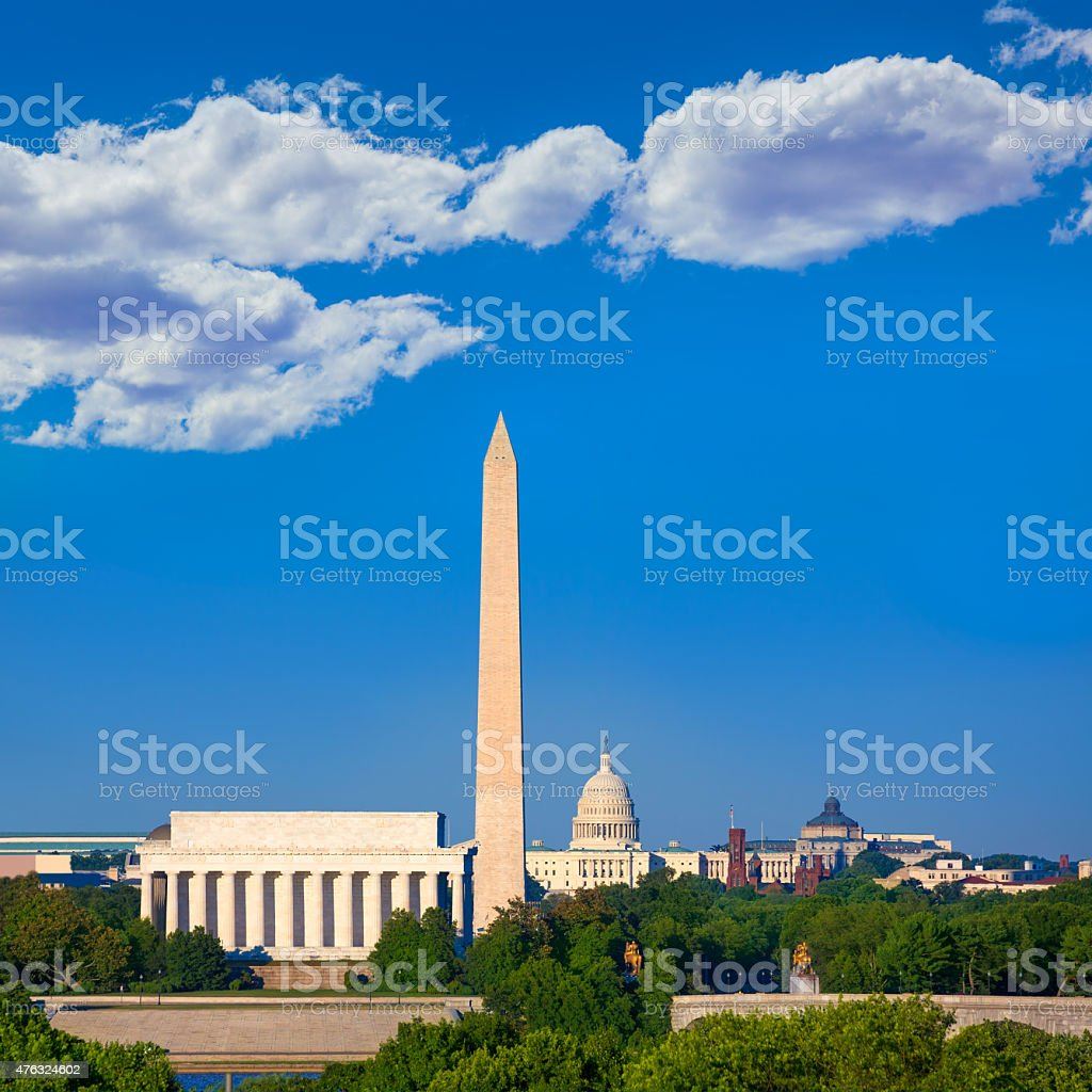 Washington Monument Capitol and Lincoln memorial stock photo