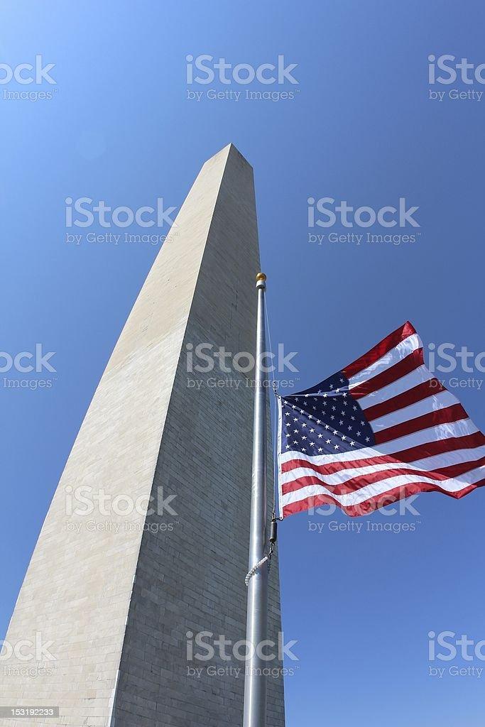 Washington Monument Flag Half Mast stock photo