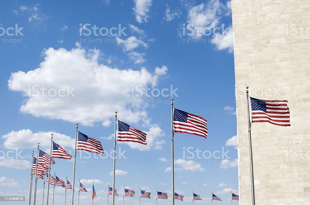Washington Monument Flags stock photo