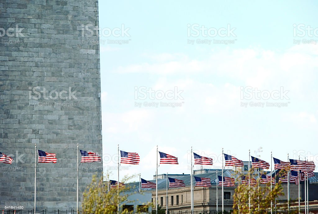 Washington Monument Flags stock photo