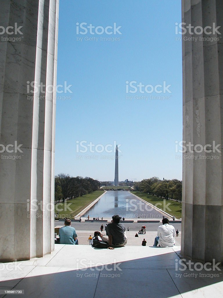Washington Monument from Lincoln Memorial stock photo