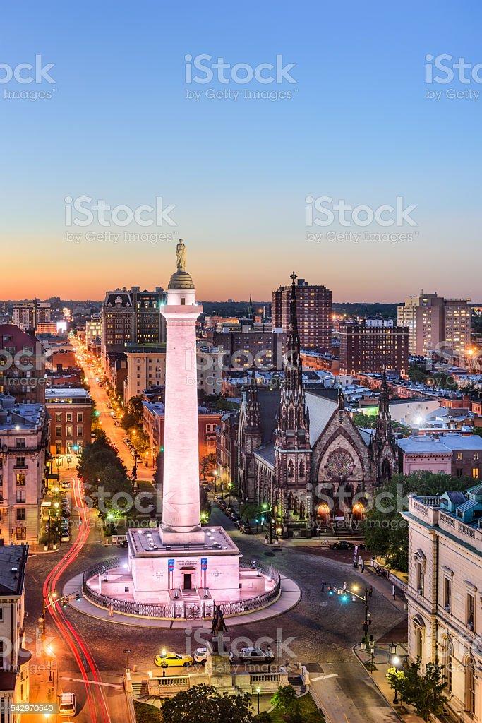 Washington Monument in Baltimore stock photo