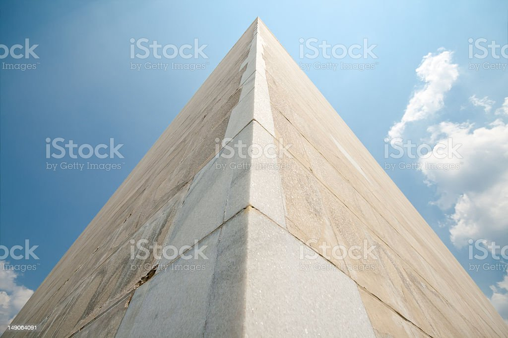 Washington Monument in U.S. Capital Wide Angle Looking Up stock photo