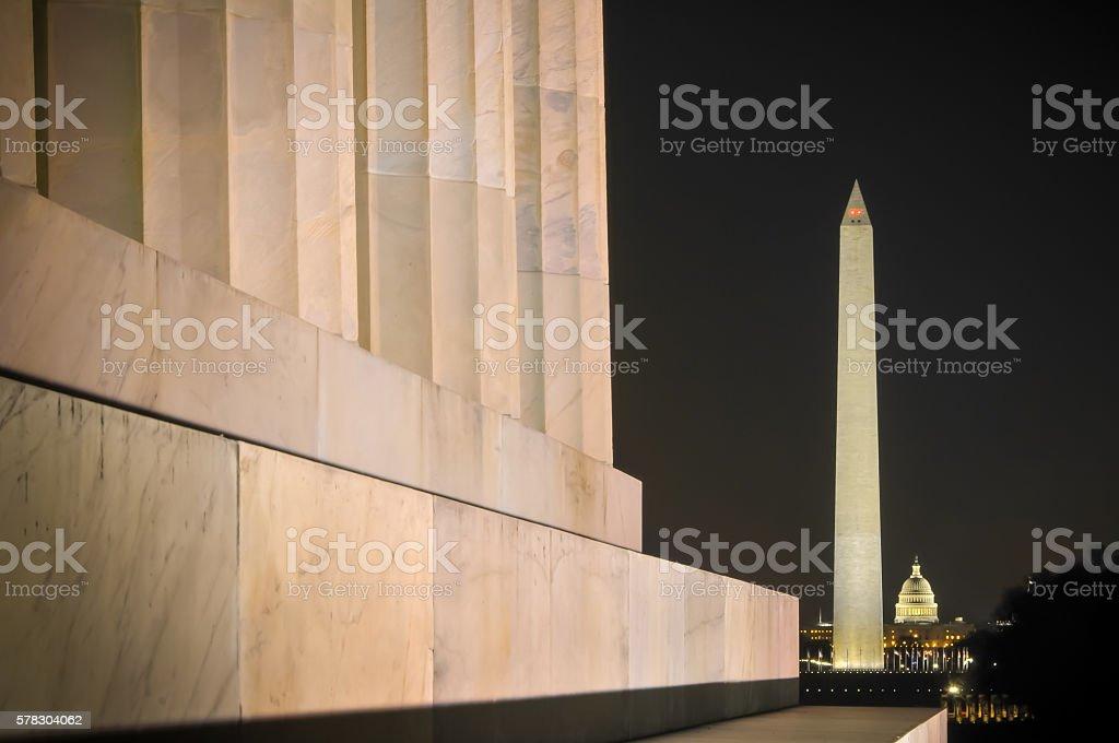 Washington Monument Lit Up stock photo