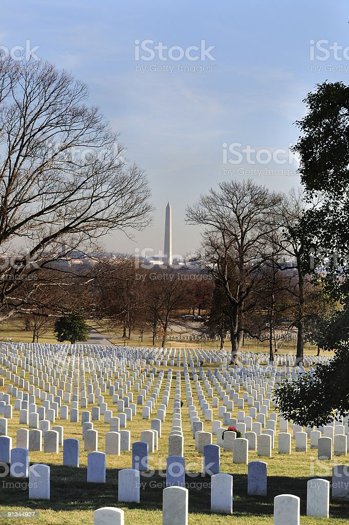 Washington Monument Over Tombstones Vertical stock photo