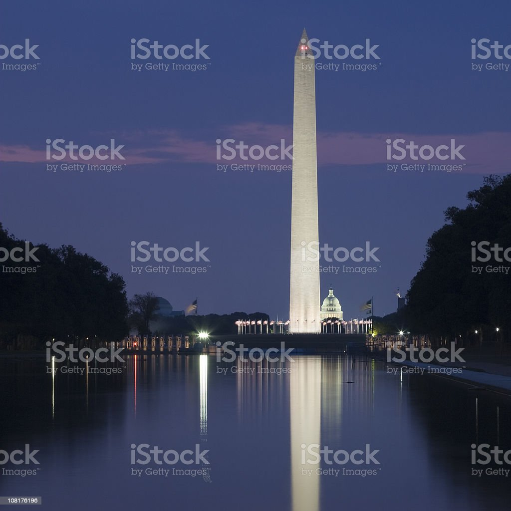 Washington Monument Reflecting on Pool at Night royalty-free stock photo