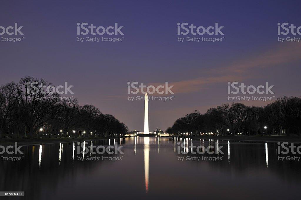 Washington Monument Reflection at night stock photo