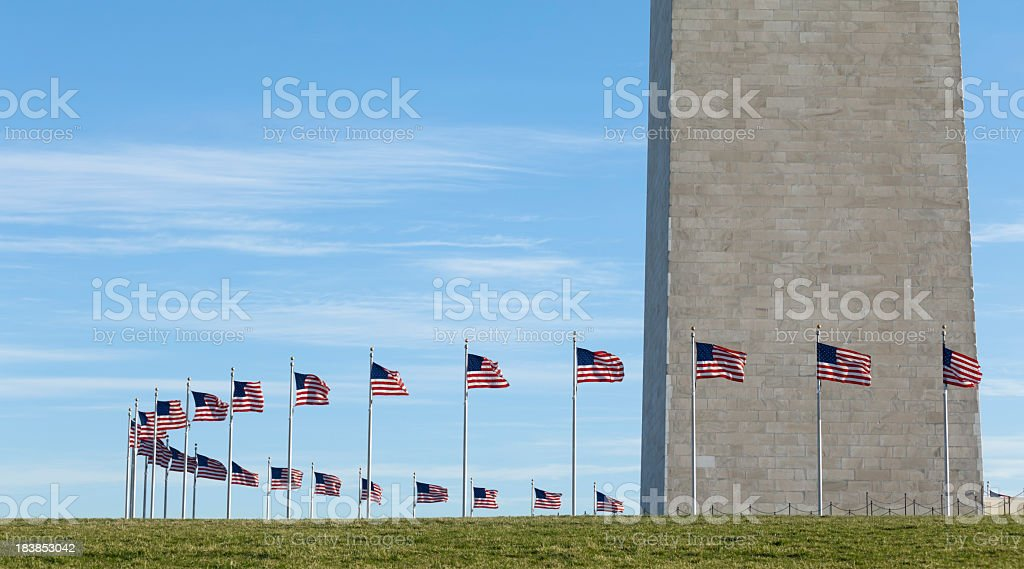 Washington Monument with Ring of National Flags stock photo