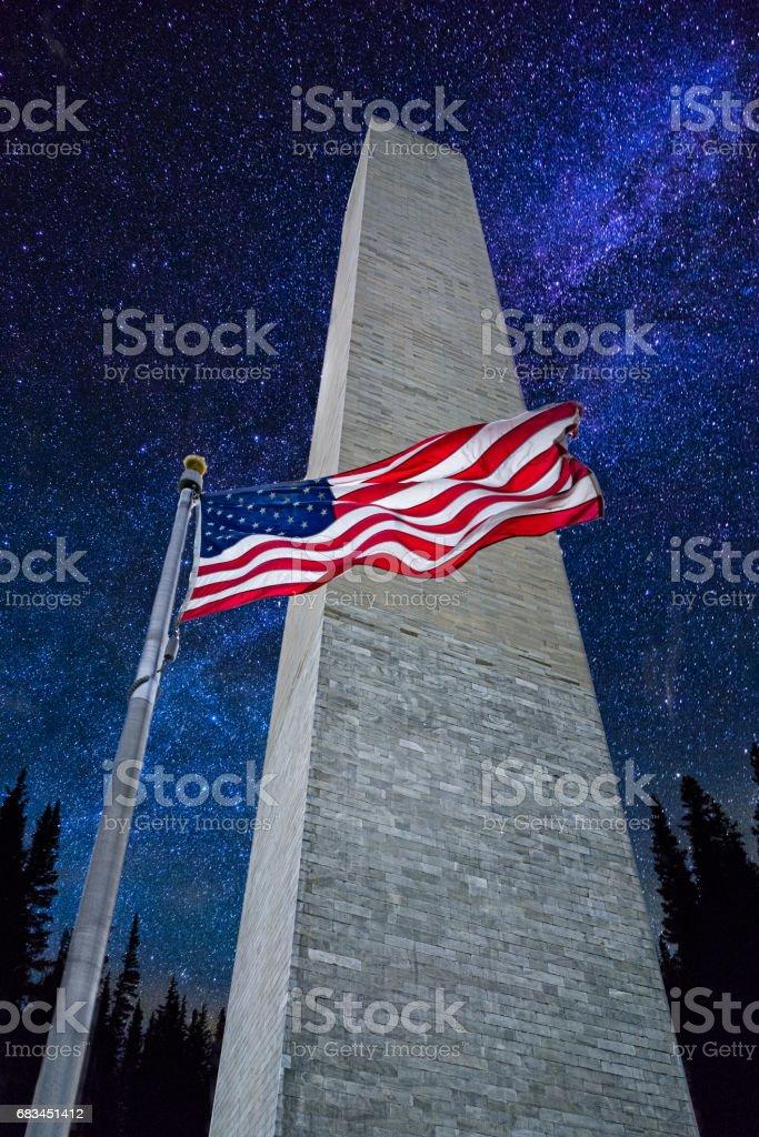 Washington Monument with Stars and Milky Way stock photo