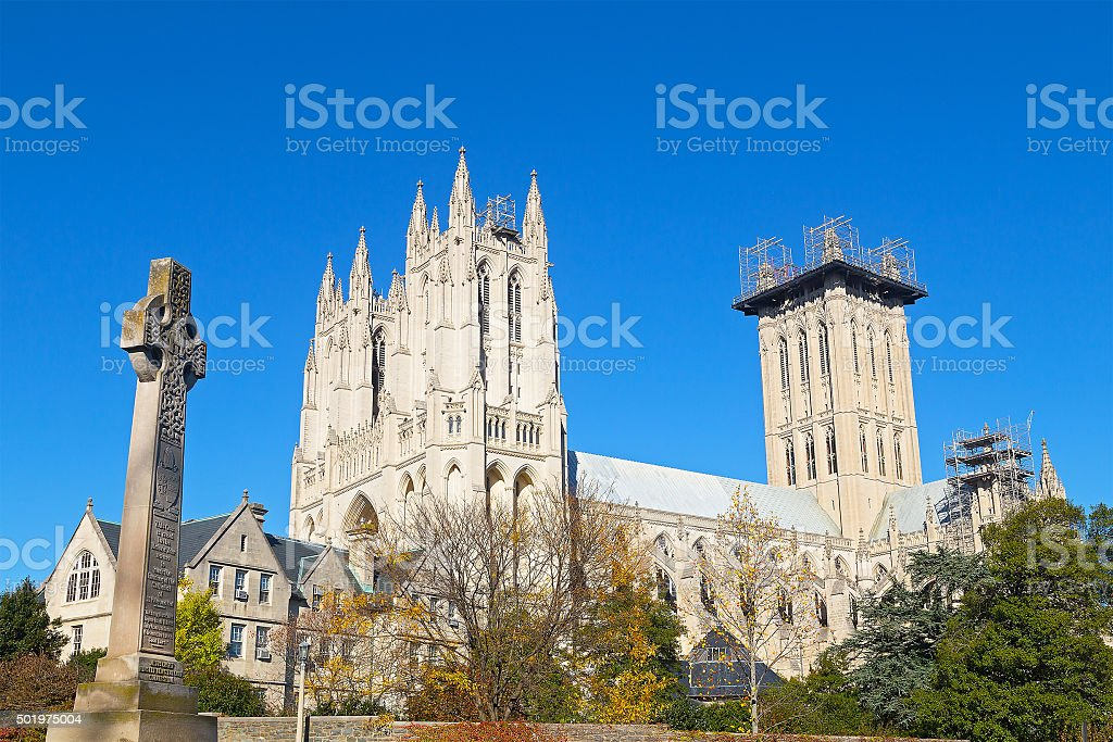 Washington National Cathedral grounds in US capital in autumn. stock photo