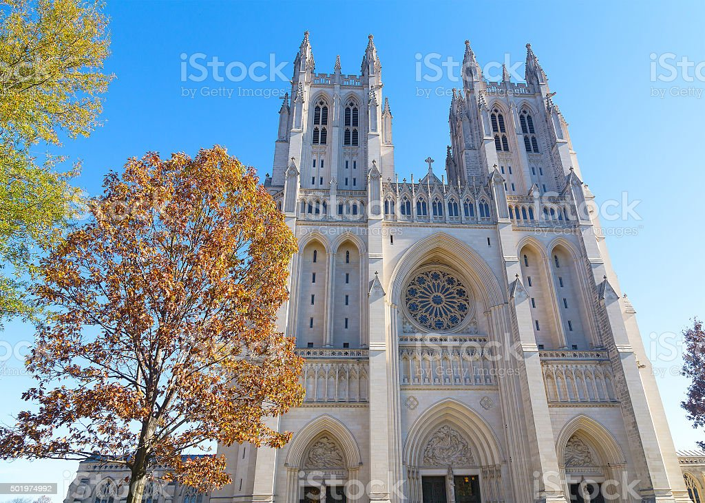 Washington National Cathedral in US capital in autumn. stock photo