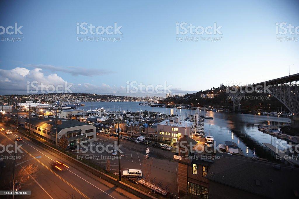USA, Washington, Seattle, Lake Union and Aurora Bridge, dusk stock photo