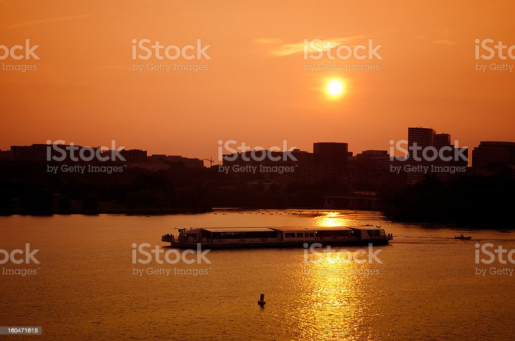 Washington Skyline at sunset and the Potomac river royalty-free stock photo