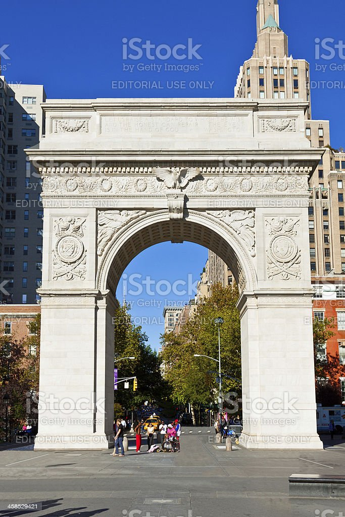 Washington Square Arch, Manhattan, New York. stock photo