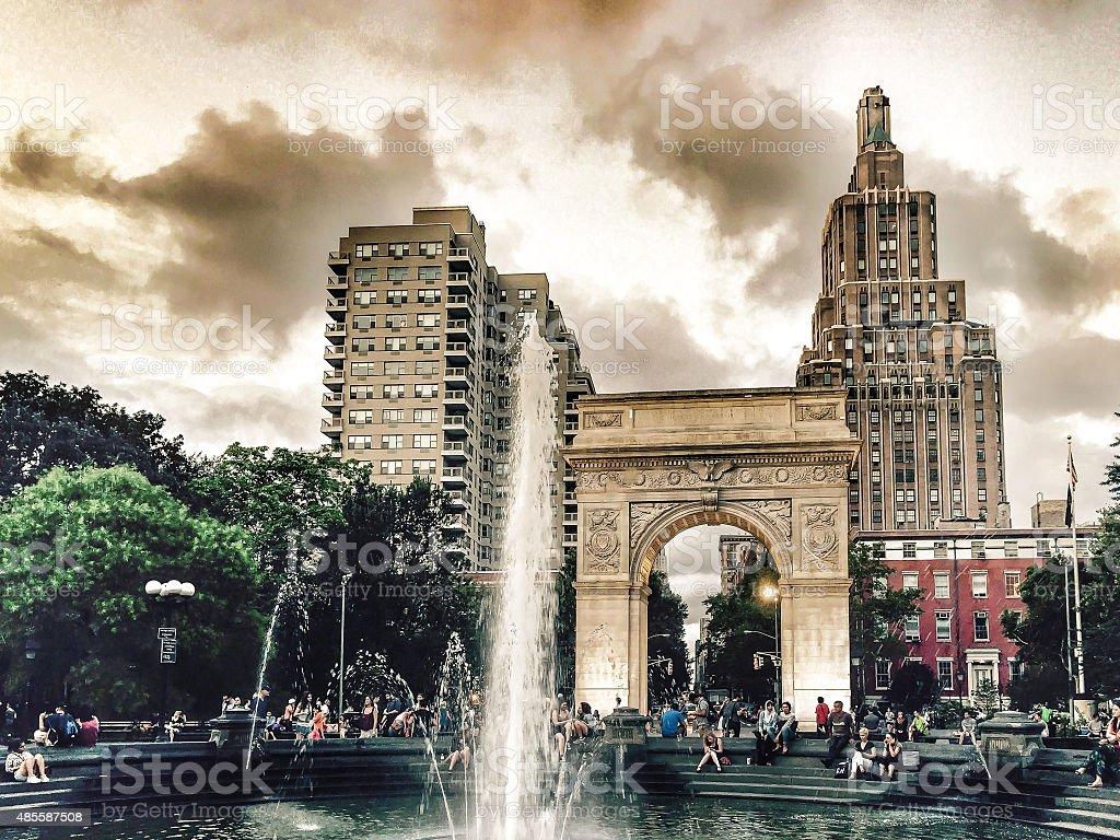Washington Square Park under Dramatic Sky stock photo
