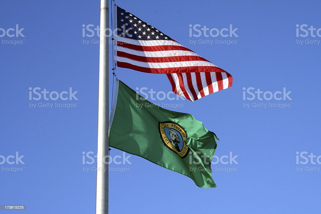 Washington State and U.S. Flag royalty-free stock photo