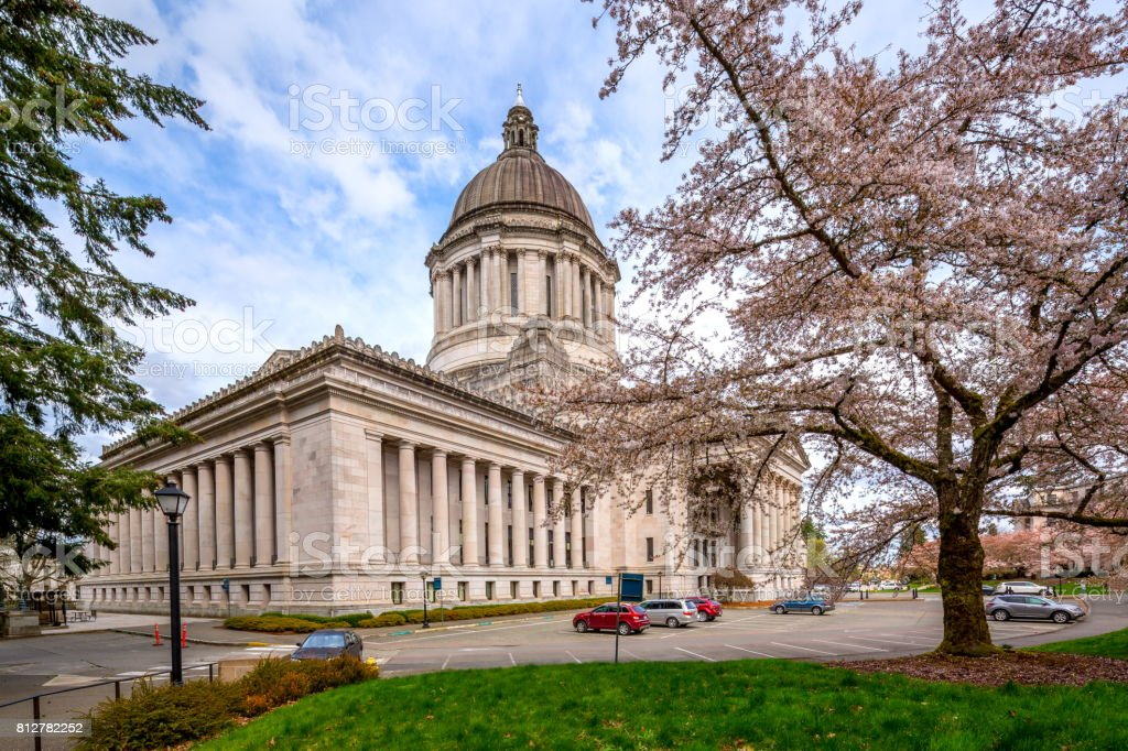 Washington state capitol building in Spring stock photo