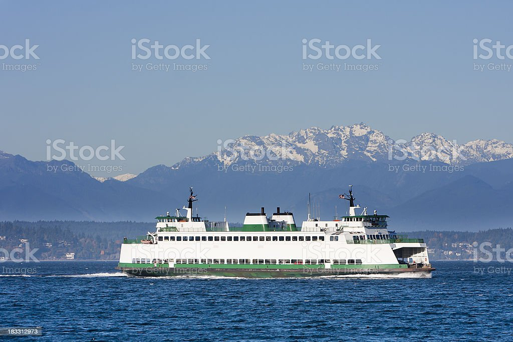 Washington State Car Ferry on Puget Sound stock photo