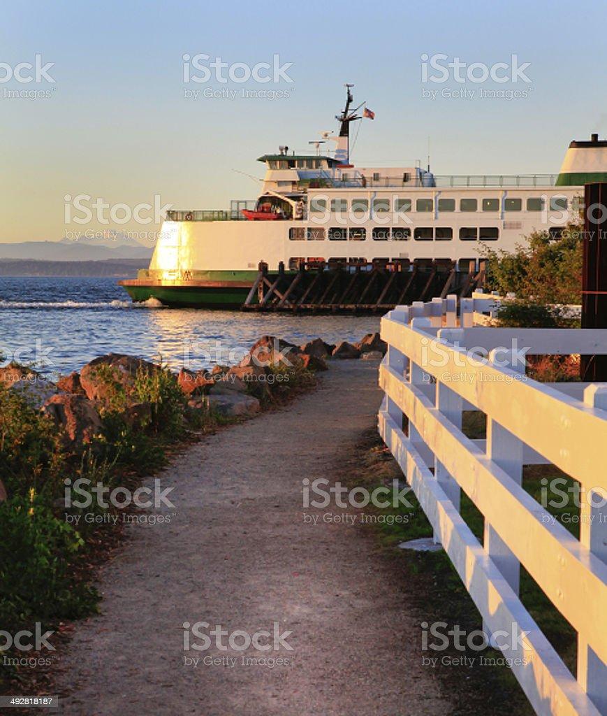 Washington State ferry during sunset. stock photo