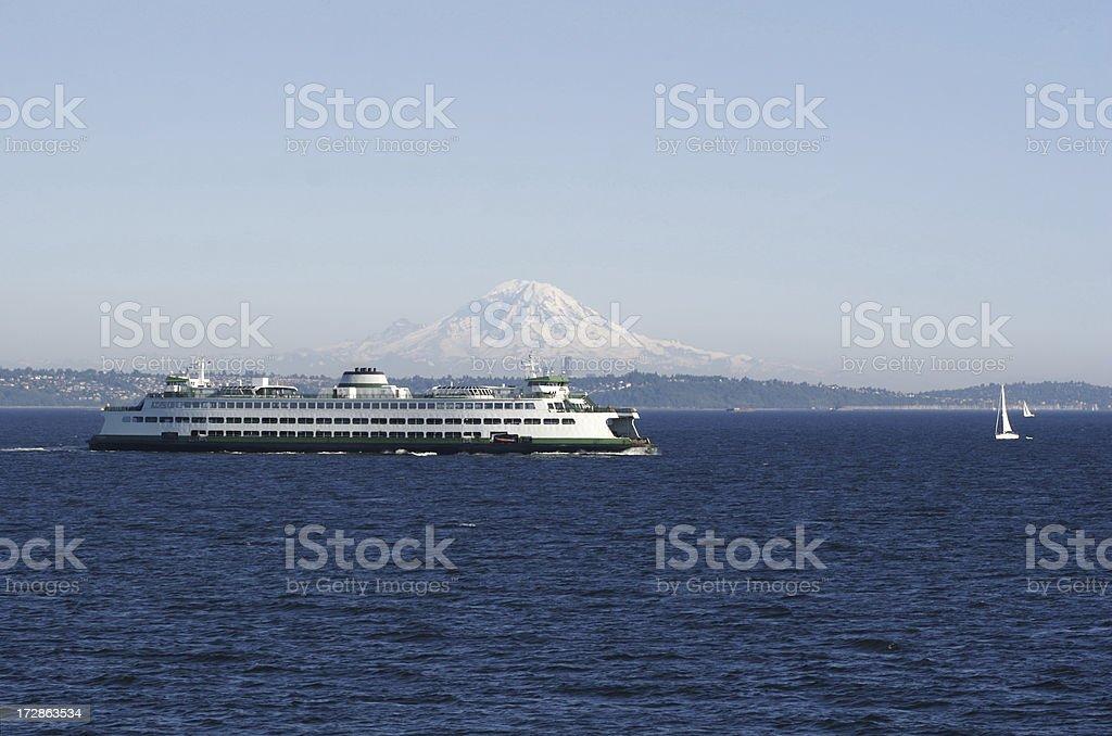 Washington State Ferry On Puget Sound royalty-free stock photo