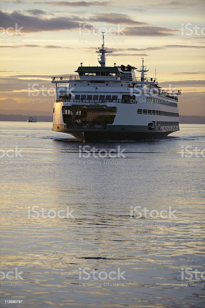 Washington State Ferry with winter sunset stock photo