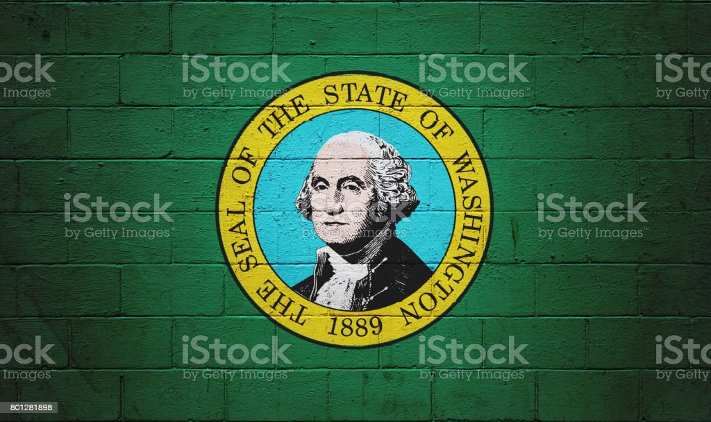 Washington state flag painted on a wall stock photo