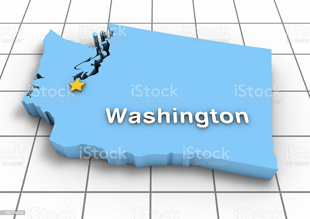 Washington State Map 3D royalty-free stock photo