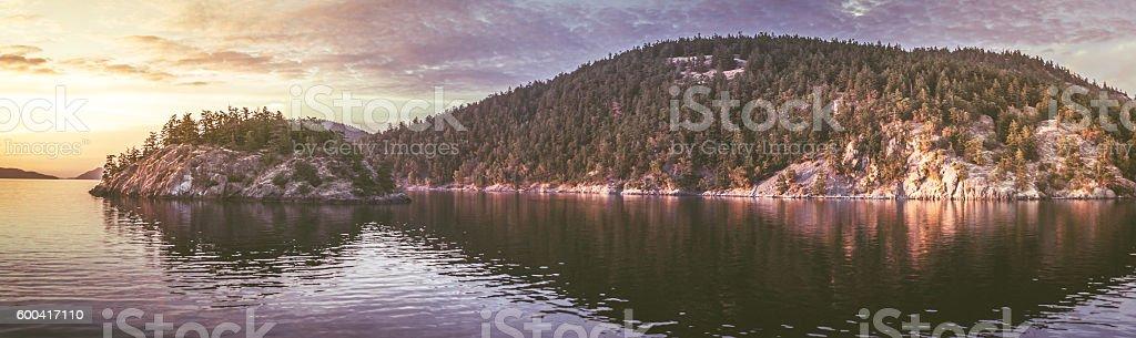 Washington States Puget Sound At Sunset stock photo