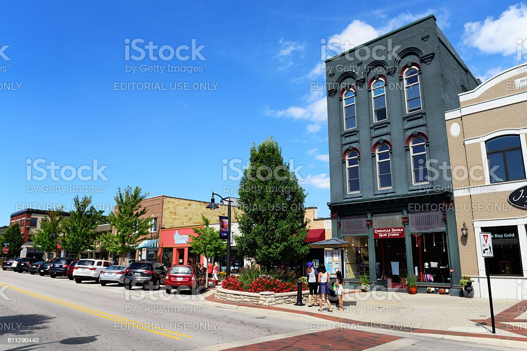 Washington Street, downtown Grand Haven, Michigan stock photo