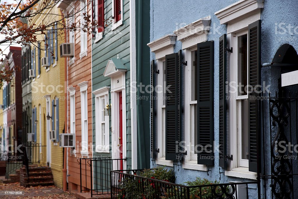 Washington street with colorful houses with autumn trees stock photo
