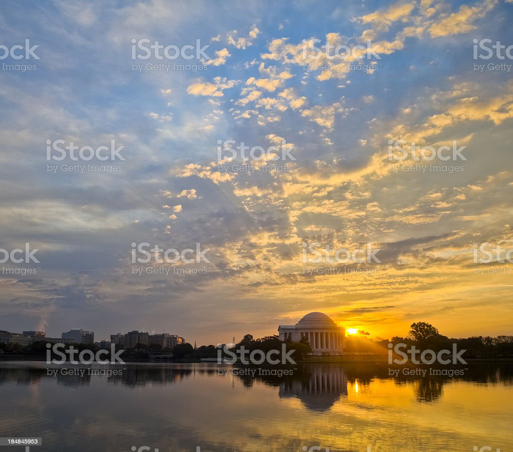 Washington Tidal Basin and Jefferson Memorial with Brilliant Sunrise royalty-free stock photo