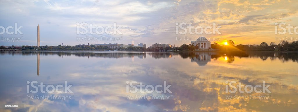 Washington Tidal Basin Sunrise with Beautiful Reflections Panorama stock photo