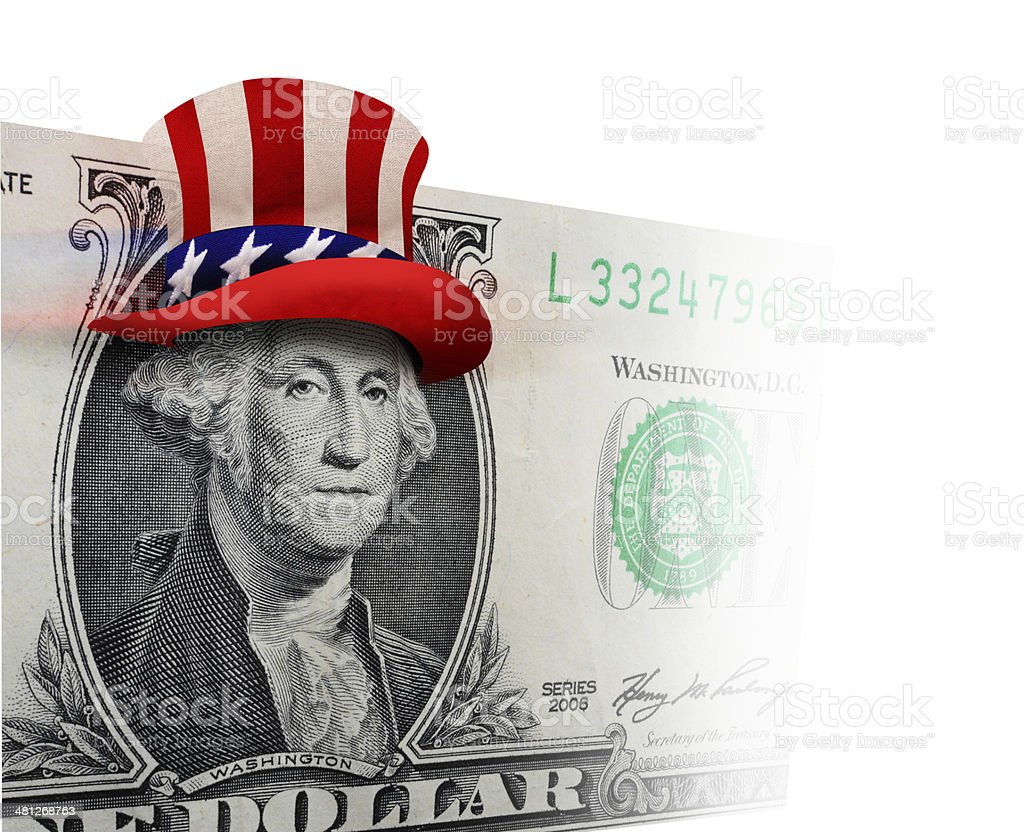 Washington with Uncle Sam Hat. stock photo