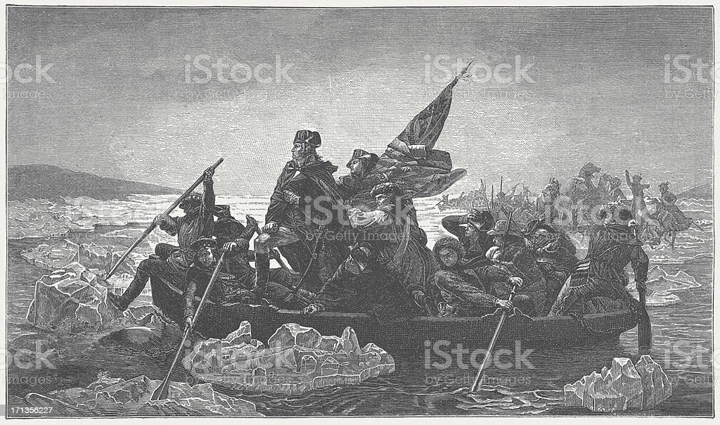 Washington's crossing of the Delaware River, 1776, published in 1882 stock photo