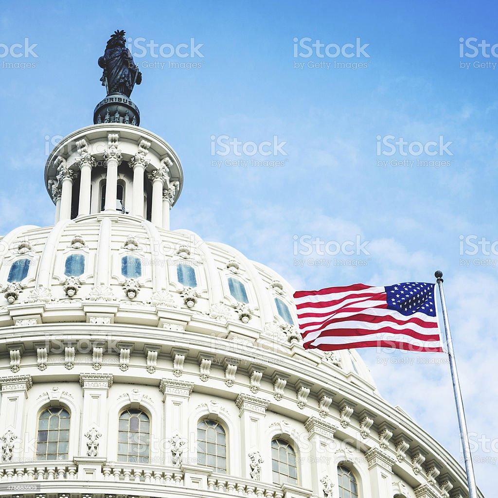 washintgton dc with us flag waving stock photo