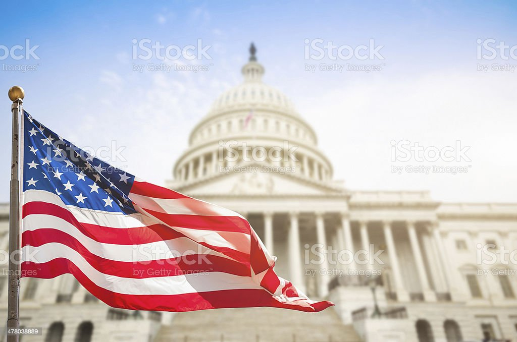 washintgton dc with us flag waving stock photo