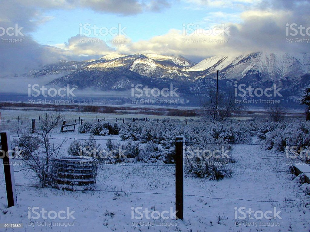 Washoe Valley ranch in snow stock photo