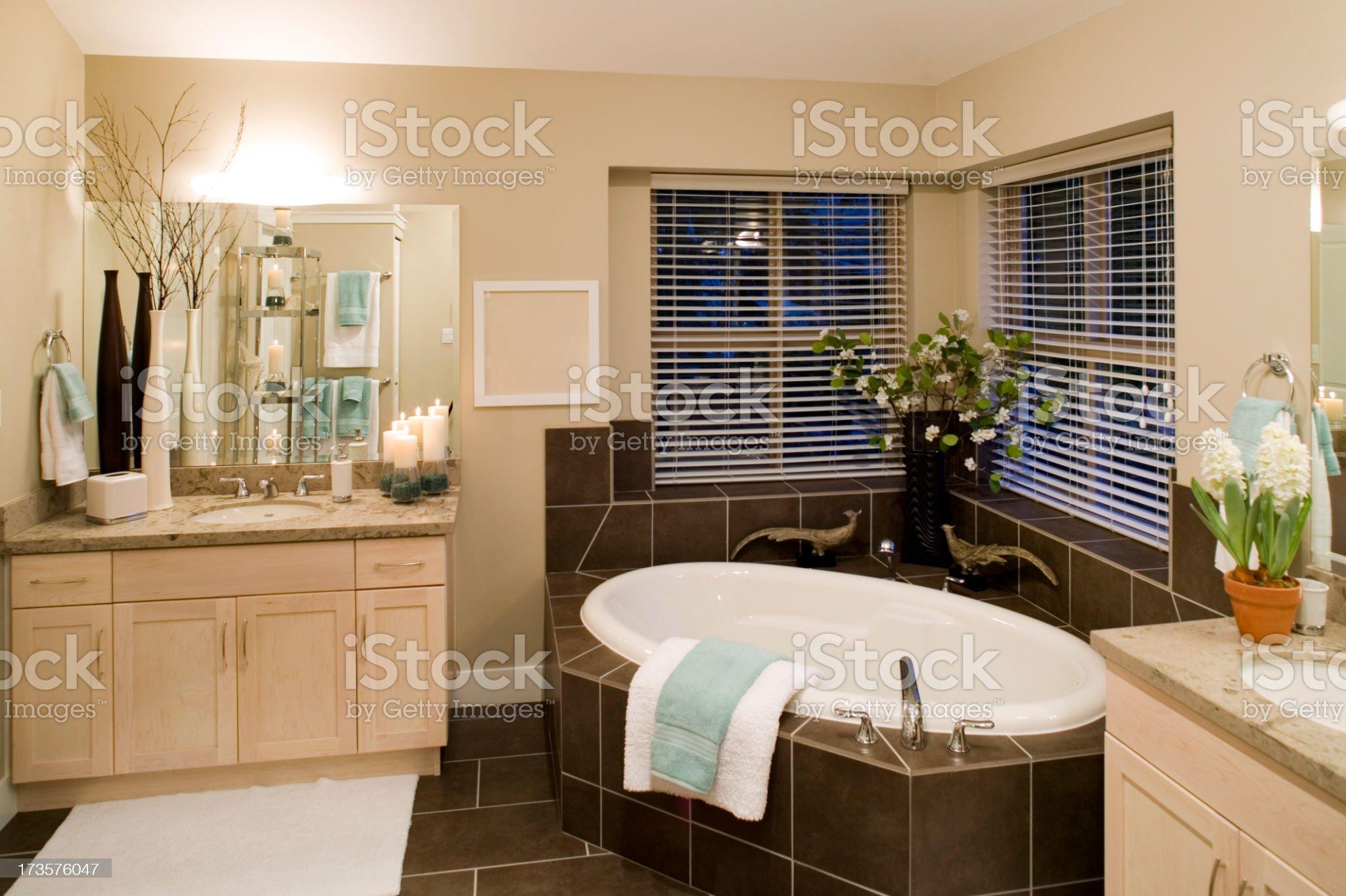 washroom sunken bathtub house royalty-free stock photo