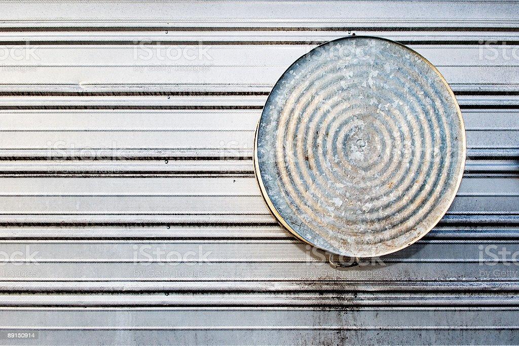 Washtub on metal building royalty-free stock photo