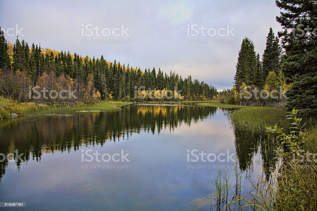 Waskesui River and Reflections stock photo