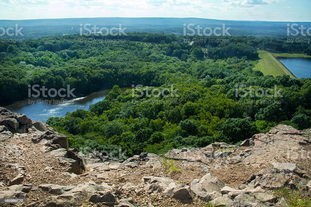 Wassel Reservoir and dike, west cliffs of Ragged Mountain, Conne stock photo