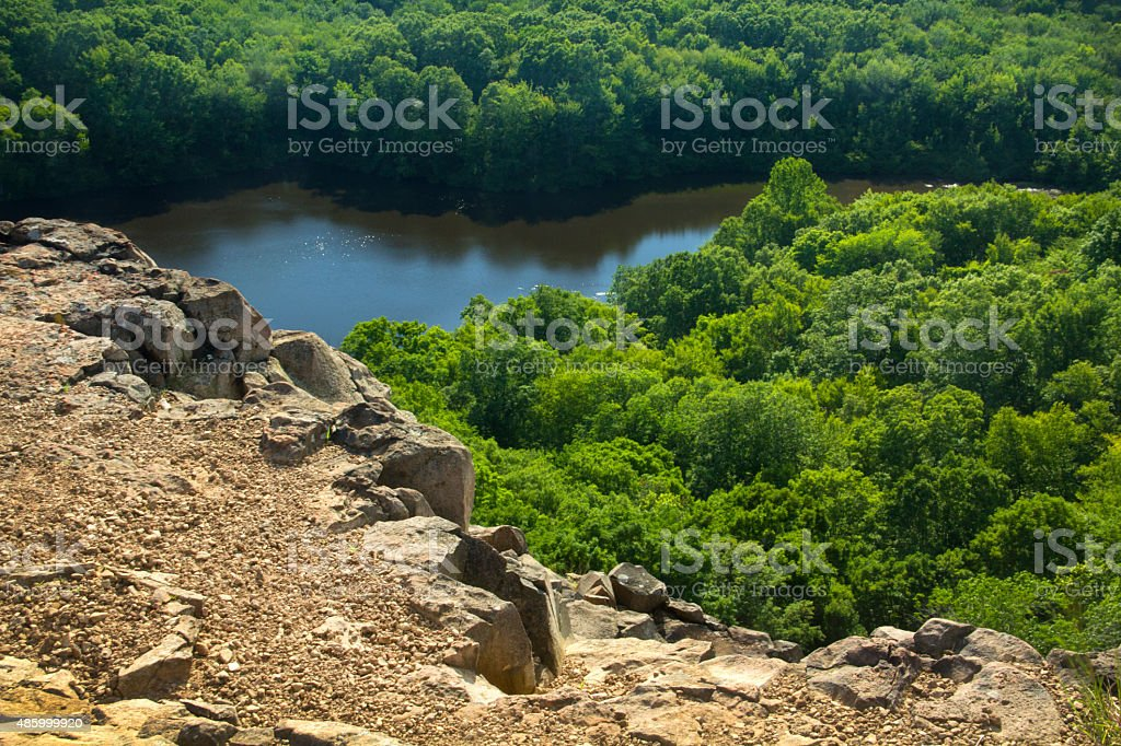Wassel Reservoir from west cliffs of Ragged Mountain, Berlin, Co stock photo