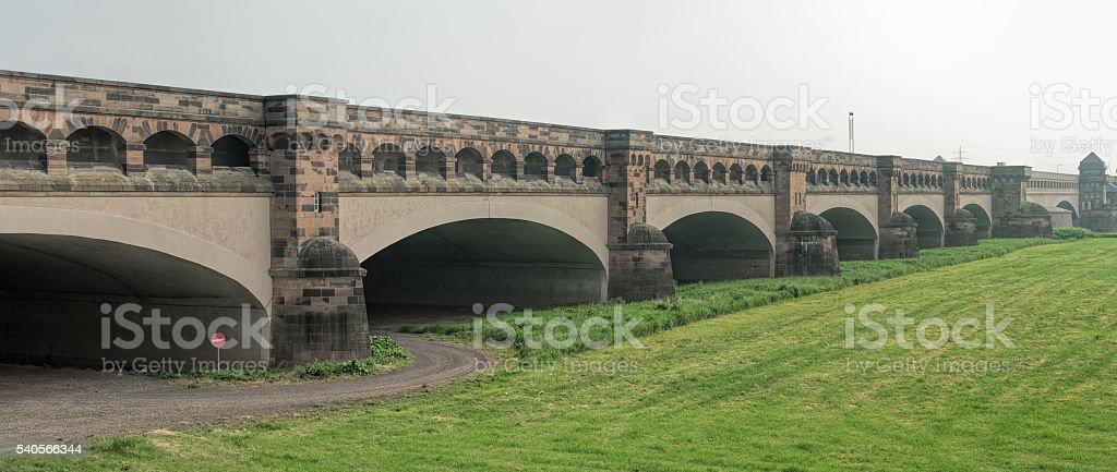 Wasserkreuz Minden - Bridge of Mittellandkanal crossing Weser River stock photo