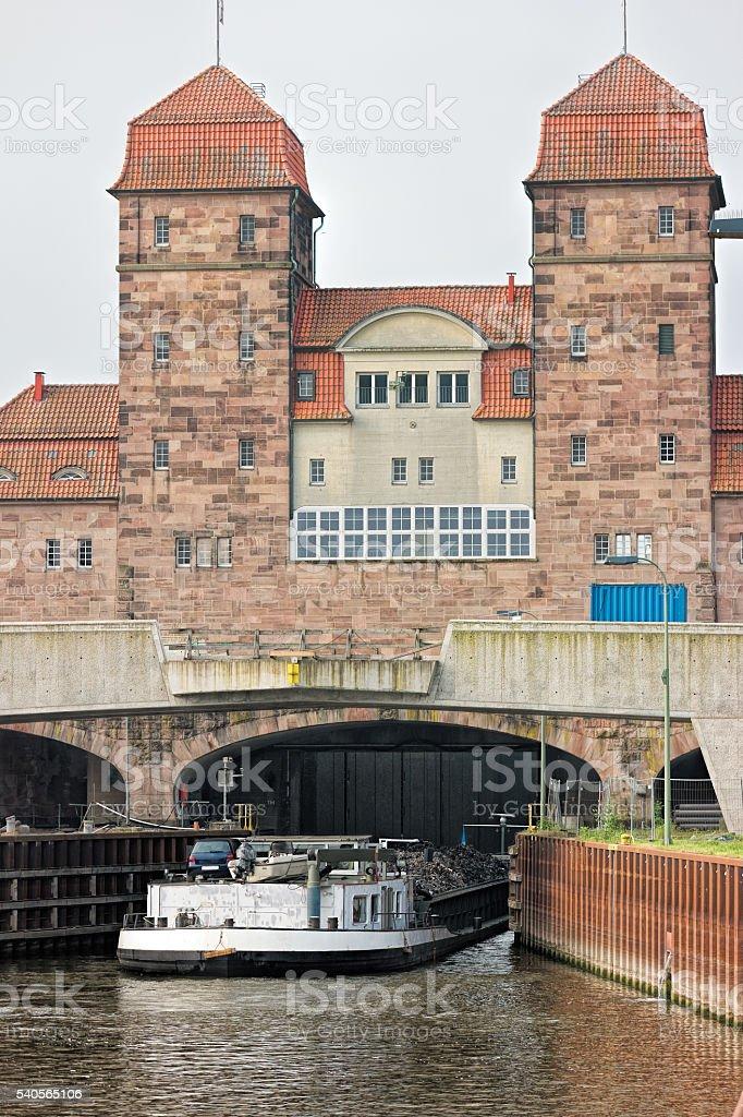 Wasserkreuz Minden - Sluice from Weser to Mittellandkanal stock photo