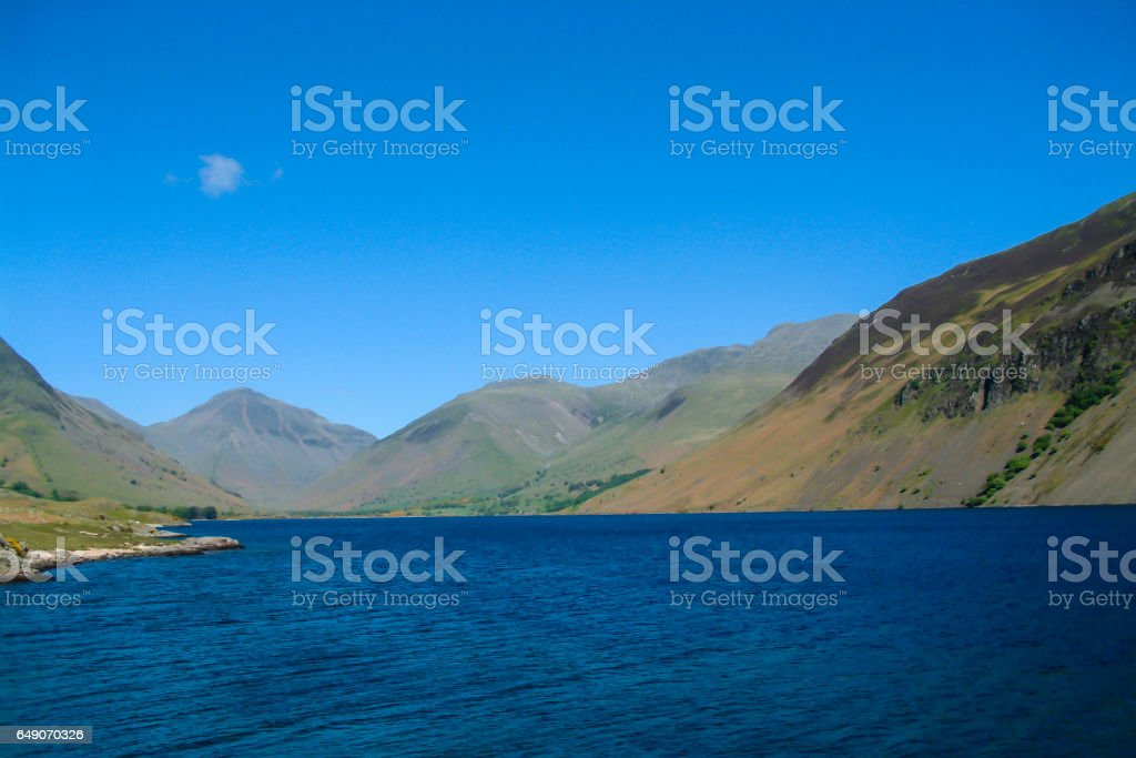 Wast Water with Great Gable, Lingmell and Scafell Pike stock photo