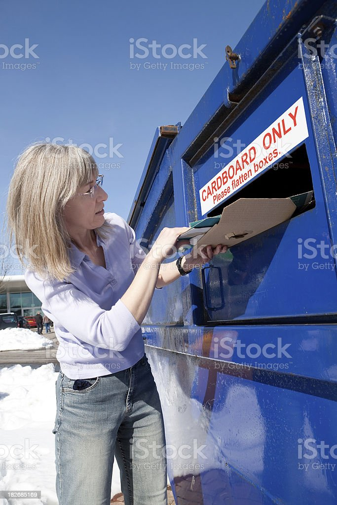 Waste cardboard disposal bin royalty-free stock photo