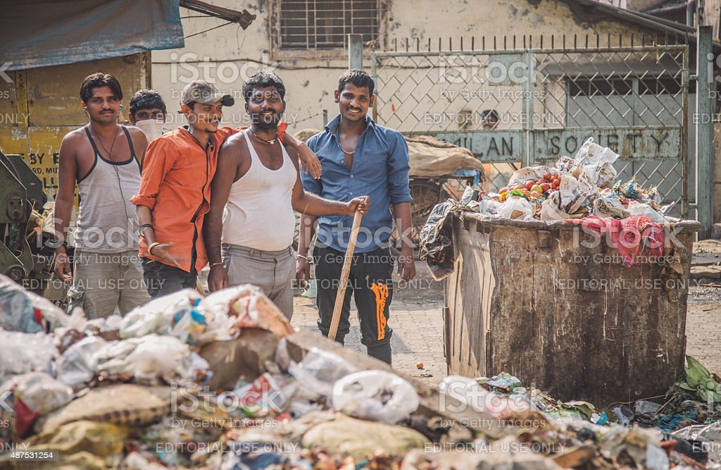 waste collectors stock photo